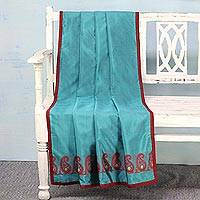 Silk throw, 'Paisley Allure in Teal' - Hand Woven Silk Throw in Teal and Crimson from India
