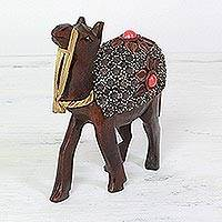 Wood figurine, 'Pushkar Camel' - Florid Pushkar Desert Indian Camel Hand-carved Wood Figurine