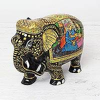 Wood figurine, 'Royal Romance Elephant' - Royal Mughal Romance Elephant Figurine Wood Sculpture