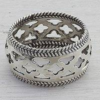 Sterling silver band ring, 'Jali Stars' - Artisan Crafted Sterling Silver Indian Jali Motif Band Ring
