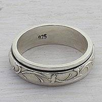 Sterling silver meditation spinner ring, 'Spinning Vines' - Artisan Crafted Sterling Silver Spinner Ring from India