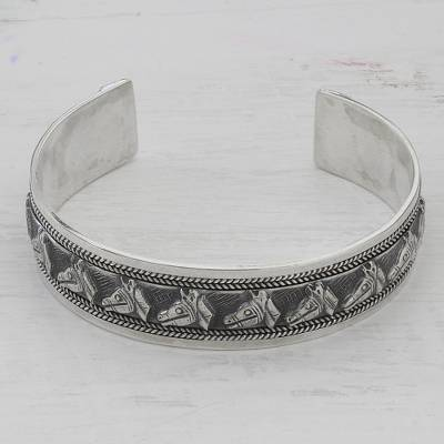 Sterling silver cuff bracelet, 'Procession of Horses' - Artisan Crafted Sterling Silver Horse Theme Cuff Bracelet