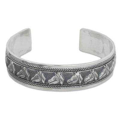 Artisan Crafted Sterling Silver Horse Theme Cuff Bracelet