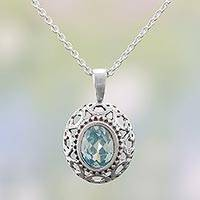 Blue topaz pendant necklace, 'Sea Sparkles' - Blue Topaz and Sterling Silver Pendant Necklace from India
