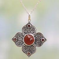 Garnet and onyx pendant necklace,