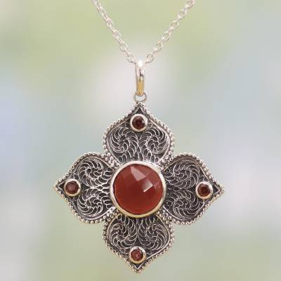 Garnet and onyx pendant necklace, 'Royal Fire' - Garnet and Onyx Pendant Necklace from India