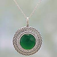 Onyx and cubic zirconia pendant necklace, 'Visions of Green' - Sterling Silver and Green Onyx Pendant Necklace from India