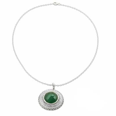 Sterling Silver and Green Onyx Pendant Necklace from India