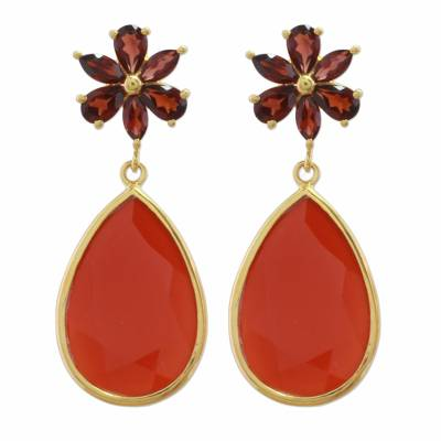 Garnet and Onyx Gold Plated Dangle Earrings from India