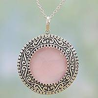 Chalcedony pendant necklace, 'Glowing Fascination' - Indian Sterling Silver and Pink Chalcedony Pendant Necklace