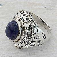 Lapis lazuli cocktail ring, 'Speckled Blue' - Sterling Silver and Lapis Lazuli Cocktail Ring from India