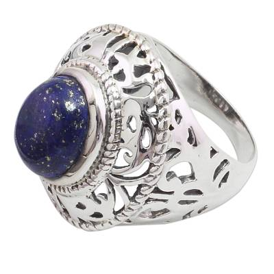 Sterling Silver and Lapis Lazuli Cocktail Ring from India
