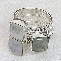 Rainbow moonstone and labradorite stacking rings, 'Misty Squares' (set of 5) - Set of 5 Rainbow Moonstone Labradorite Stacking Ring India