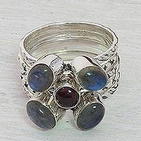 Garnet and labradorite stacking rings, 'Magical Burst' (set of 5) - Garnet and Labradorite Stacking Rings (Set of 5) from India