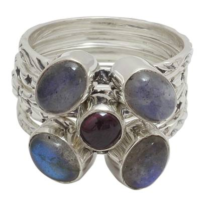 Garnet and Labradorite Stacking Rings (Set of 5) from India