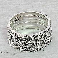 Sterling silver stacking rings, 'Effortless Nature' (set of 5) - Sterling Silver Stacking Rings (Set of 5) from India