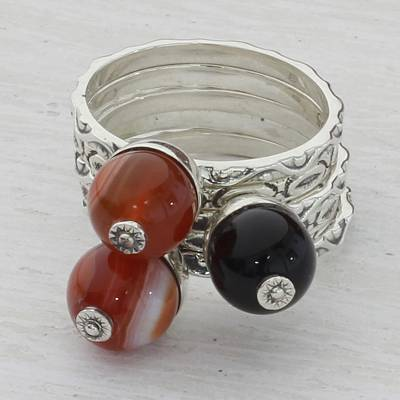 Onyx stacking rings, 'Red and Black Globes' (set of 5) - Red and Black Onyx Stacking Rings (Set of 5) from India