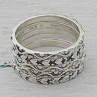 Sterling silver stacking rings, 'Loving Waves' (set of 5) - Sterling Silver Stacking Band Rings (Set of 5) from India