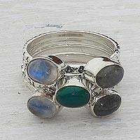 Multi-gemstone stacking rings, 'Magical Eruption' (set of 5) - Rainbow Moonstone Labradorite Stacking Ring (Set of 5) India