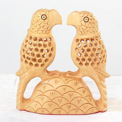 Wood sculpture, 'Parrot Hearts' - Hand Carved Wood Parrot Sculpture from India