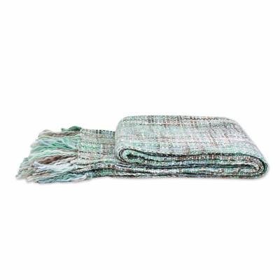 Throw blanket, 'Mint Beauty' - Pastel Green Throw Blanket with Fringes from India