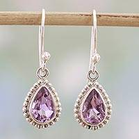 Amethyst dangle earrings, 'Radiant Lilac' - Amethyst and Sterling Silver Dangle Earrings from India