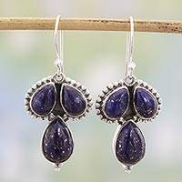 Lapis lazuli dangle earrings, 'Droplet Trios' - Lapis Lazuli and Sterling Silver Dangle Earrings from India