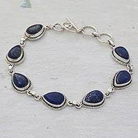 Lapis lazuli link bracelet, 'Caressing Rain in Blue' - Lapis Lazuli and Sterling Silver Link Bracelet from India