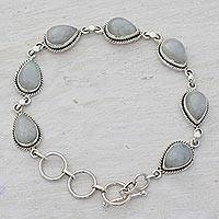 Rainbow moonstone link bracelet, 'Caressing Rain' - Indian Rainbow Moonstone and Sterling Silver Link Bracelet