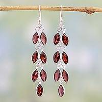 Garnet dangle earrings, 'Sparkling Red Leaves' - Garnet and Sterling Silver Dangle Earrings from India