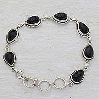 Onyx link bracelet, 'Caressing Rain in Black' - Black Onyx and Sterling Silver Link Bracelet from India