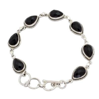 Black Onyx and Sterling Silver Link Bracelet from India