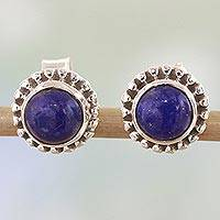 Lapis lazuli stud earrings, 'Blue Globe' - Lapis Lazuli and Sterling Silver Stud Earrings from India