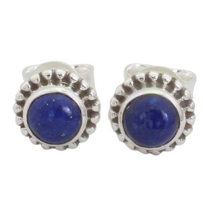 Unique Lapis Lazuli and Sterling Silver Stud Earrings from India