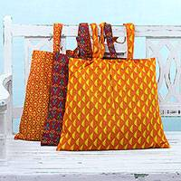 Cotton shopping bags, 'A Day at the Market' (set of 3) - Set of 3 Tangerine Cherry and Paprika Cotton Shopping Bags