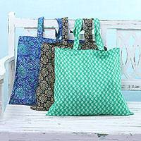 Cotton shopping bags, 'Floral Shopper' (set of 3) - Set of 3 Cotton Shopping Bags in Emerald Azure and Charcoal