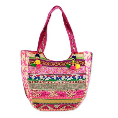 Embroidered Polyester Floral Tote Handbag from India