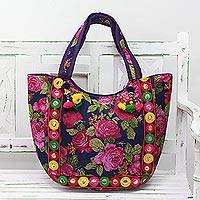 Embroidered tote handbag, 'Rosy Garden' - Tote Handbag with Rose Motifs from India