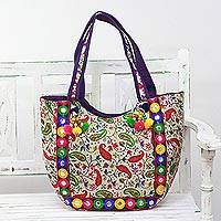 Embroidered tote handbag, 'Paisley Dreams' - Tote Handbag with Paisley Motifs from India