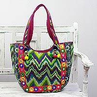 Embroidered tote handbag, 'Sonic Green' - Tote Handbag with Green Zigzag Motifs from India