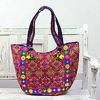 Embroidered tote handbag, 'Pink Kaleidoscope' - Tote Handbag with Kaleidoscope Motifs from India