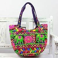 Embroidered tote handbag, 'Elephant Flower in Blue-Violet' - Embroidered Tote Handbag with Floral Elephants from India