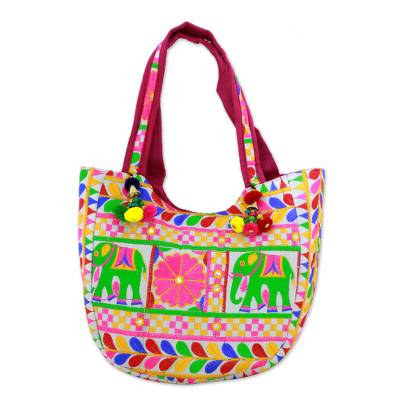 Floral Elephant Embroidered Tote Handbag from India