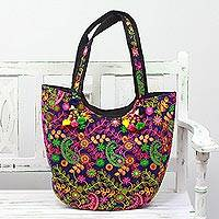 Embroidered tote handbag, 'Paisley Flowers in Indigo' - Paisley Embroidered Tote Handbag from India