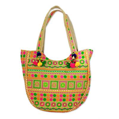 Floral Spiral Embroidered Tote Handbag from India