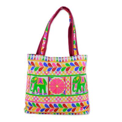 Colorful Elephant Embroidered Tote Handbag from India