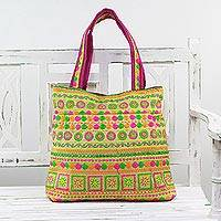 Embroidered tote handbag, 'Swirling Beauty' - Rayon Embroidered Floral Tote Handbag from India