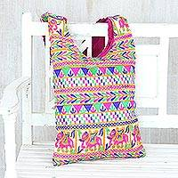 Embroidered sling bag, 'Enchanting Elephants' - Multi-Colored Geometric Embroidered Elephants Sling Handbag