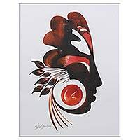 'Floral Blossom' - Brown and Red Expressionist Painting of a Person and Petals