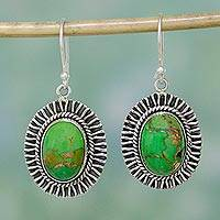 Sterling silver dangle earrings, 'Phenomenal Green' - 925 Silver Hook Earrings with Green Composite Turquoise